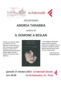 Invito alla Presentazione del 17 ottobre 2013 - Andrea Tarabbia - Il Demone a Beslan